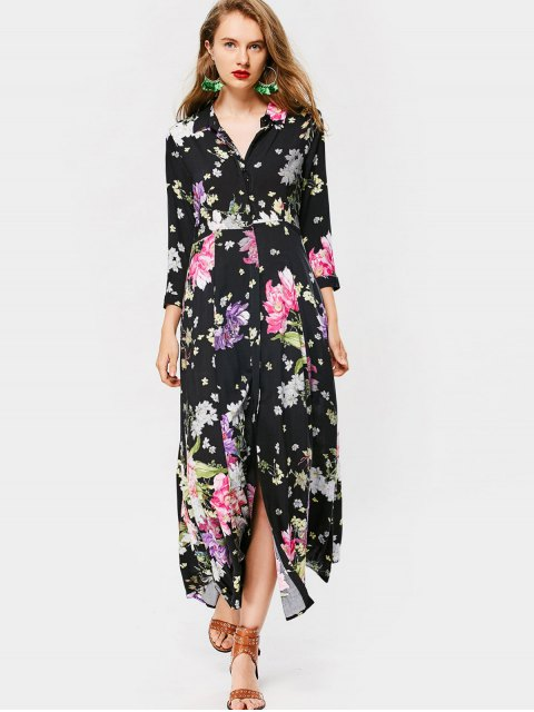 buy Button Up Long Sleeve Floral Maxi Dress - FLORAL L Mobile