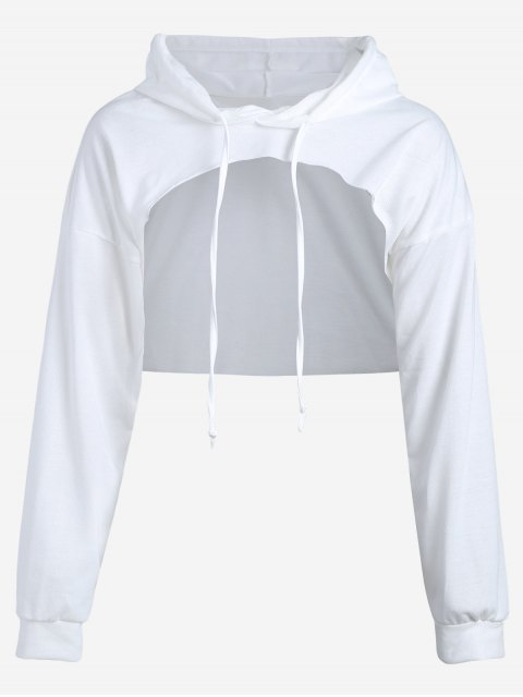affordable Cut Out Drawstring Crop Hoodie - WHITE S Mobile