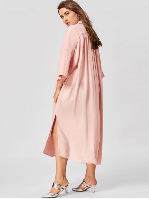 sale Plus Size Flare Sleeve Shirt Dress - NUDE PINK 5XL Mobile
