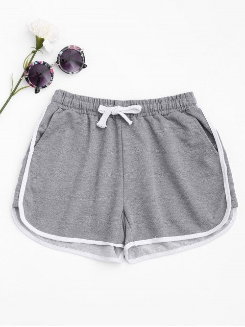 affordable Contrast Trim Running Shorts - LIGHT GRAY L Mobile
