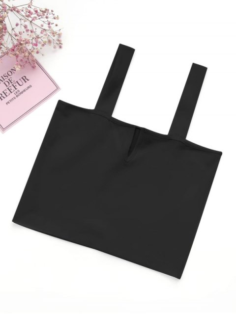 lady Casual Straps Crop Top - BLACK S Mobile