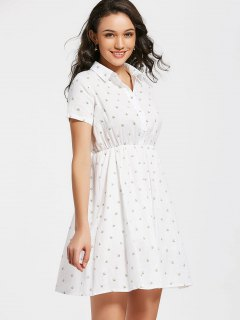 Half Buttoned Bee Print A Line Dress - White S