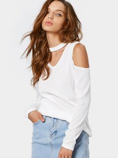 Knitted Cold Shoulder Choker Top - White M