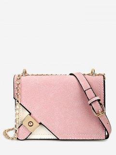 Metal Embellished Chain Color Block Crossbody Bag - Pink