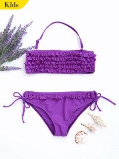 Ruffles Tiered Kids String Bikini - Purple 7t