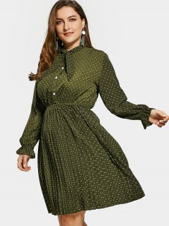 Plus Size Bow Polka Dot Dress - Army Green 3xl