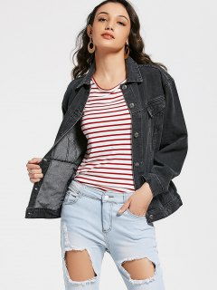 Button Up Jean Jacket With Pockets - Black S
