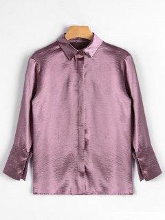 Flower Embroidered Satin Shirt - Deep Pink