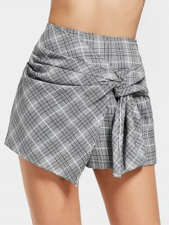 Bow Tied Checked High Waisted Skorts - Checked L