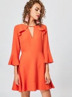 Cut Out Ruffles Keyhole Skater Dress - Orange Xl