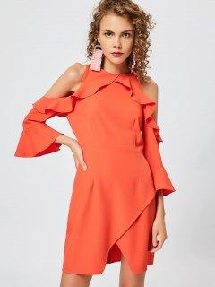 Cold Shoulder Ruffles Slit Dress - Orange Red M