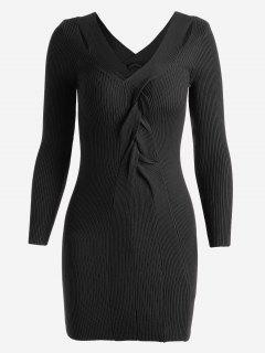 Twisted V Neck Knitted Dress - Black