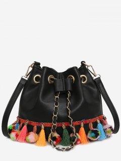 Tassels Pom Pom Drawstring Bucket Bag - Black
