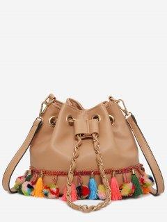 Tassels Pom Pom Drawstring Bucket Bag - Light Brown