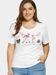 Sequins Flamingo Patch Plus Size T-shirt - White 2xl