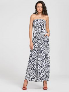 Strapless Paisley Print Maxi Dress - White L