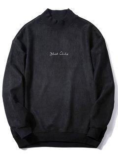 Crew Neck Graphic Print Suede Sweatshirt - Black 2xl