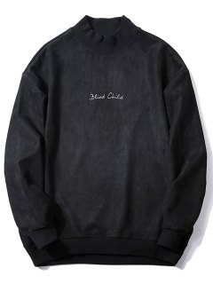 Crew Neck Graphic Print Suede Sweatshirt - Black Xl