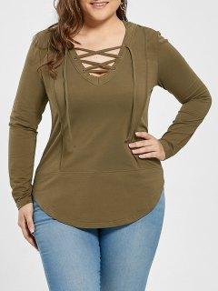 Plus Size Lace Up Asymmetrical Hoodie - Green Grey 5xl