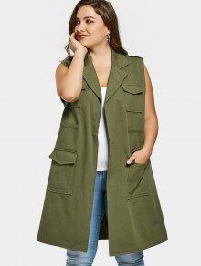 جيوب التلبيب الياقة زائد الحجم صدرية - الجيش الأخضر Xl