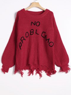 Loose Ripped Tassels Letter Sweater - Red