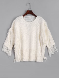 Ripped Fringed Cable Knit Sweater - White