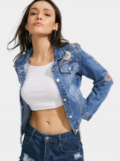 Floral Embroidered Faux Pockets Denim Jacket - Denim Blue M