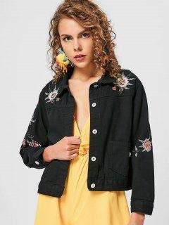 Button Floral Embroidered Denim Jacket - Black M