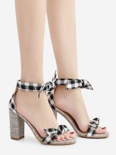 Bowknot Block Heel Plaid Pattern Sandals - Black 39