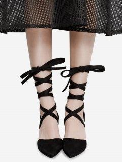 Pointed Toe Tie Up Block Pumps - Black 38
