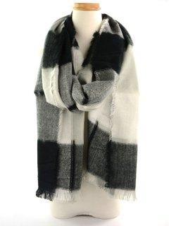 Plaid Knitted Broken Hole Design Fringed Brim Scarf - Black White