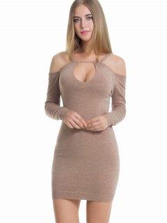Cut Out Cold Shoulder Sweater Dress - Khaki