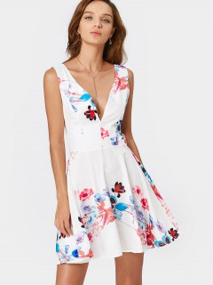 Robe De Plongée Sans Fond Imprimée - Floral Xl