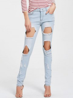 Slm Fit Ripped Jeans - Light Blue Xl