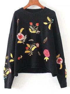 Drop Shoulder Floral Embroidered Sweater - Black