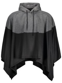 Mens Two Tone Cape Hoodie - Black And Grey M