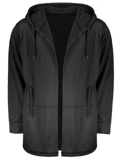 Drawstring Open Front Hooded Coat - Black 3xl