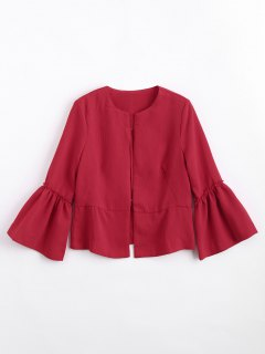 Flounces Flare Sleeve Open Front Blazer - Red S