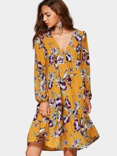Plunging Neck Empire Waist Floral Print Dress - Floral Xl