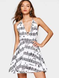 Music Note Print Open Back Cami Dress - White M