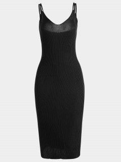 Plain Cami Knitted Dress - Black