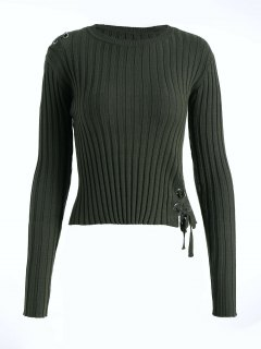 Ribbed Lace Up Sweater - Army Green