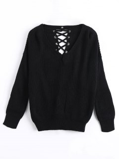 Drop Shoulder Lace Up Chunky Sweater - Black