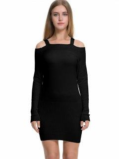 Long Sleeve Cold Shoulder Sweater Dress - Black