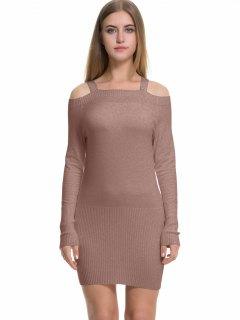 Long Sleeve Cold Shoulder Sweater Dress - Khaki