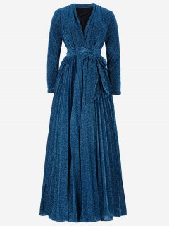 Plunging Neck Glitter Pleated Belted Prom Dress - Blue S