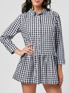 Plaid Long Sleeve Drop Waist Dress - Black White Xl