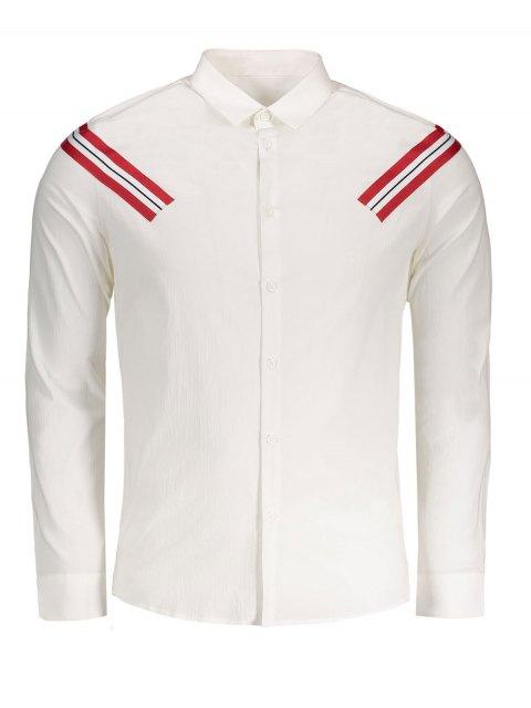 trendy Stripe Applique Shirt - WHITE XL Mobile