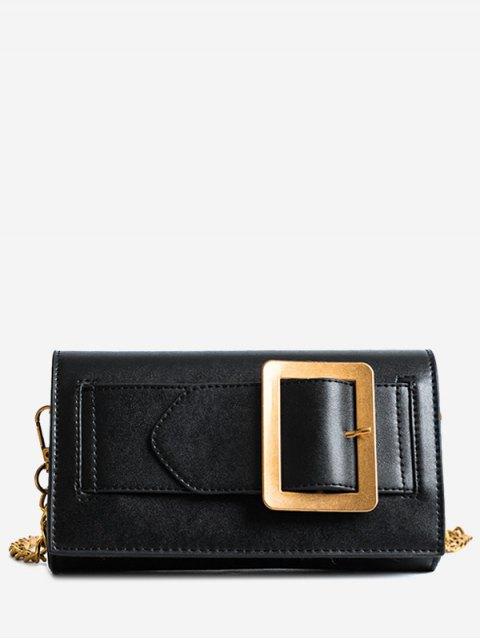 shop Buckle Strap Faux Leather Chain Crossbody Bag - BLACK  Mobile
