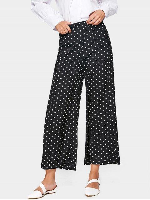 Pantalon Large Taille Haute à Pois - Noir XL Mobile